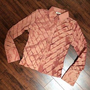 Peachy Mesh Shiny Evening Dressy Shirt Top